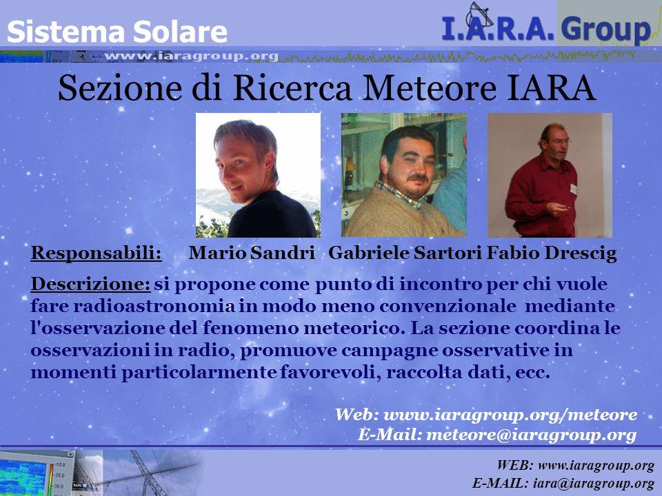 WEB: www.iaragroup.org E-MAIL: iara@iaragroup.org Sezione di Ricerca Meteore IARA Responsabili: Mario Sandri Gabriele Sartori Fabio Drescig Descrizion