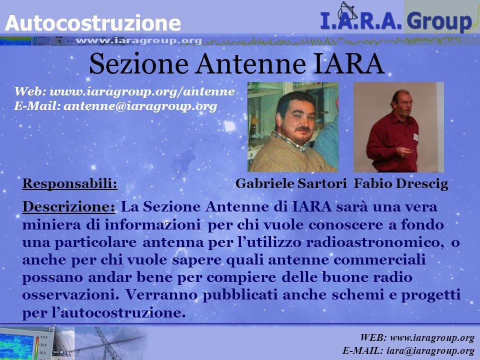 WEB: www.iaragroup.org E-MAIL: iara@iaragroup.org Sezione Antenne IARA Responsabili: Gabriele Sartori Fabio Drescig Descrizione: La Sezione Antenne di