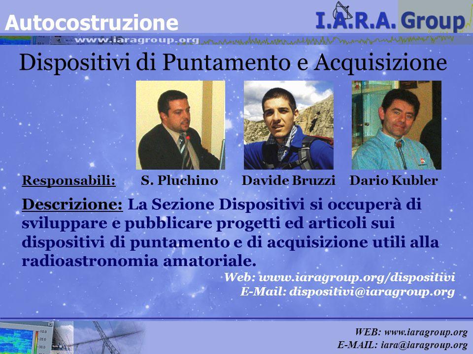 WEB: www.iaragroup.org E-MAIL: iara@iaragroup.org Dispositivi di Puntamento e Acquisizione Responsabili: S. Pluchino Davide Bruzzi Dario Kubler Descri
