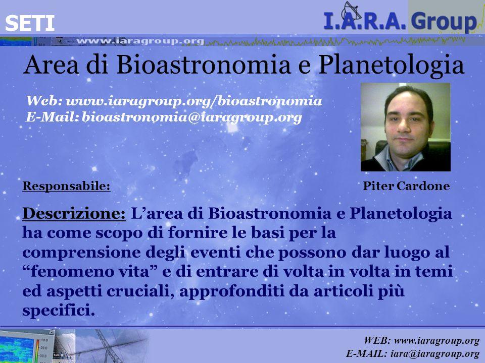 WEB: www.iaragroup.org E-MAIL: iara@iaragroup.org Area di Bioastronomia e Planetologia Responsabile: Piter Cardone Web: www.iaragroup.org/bioastronomi