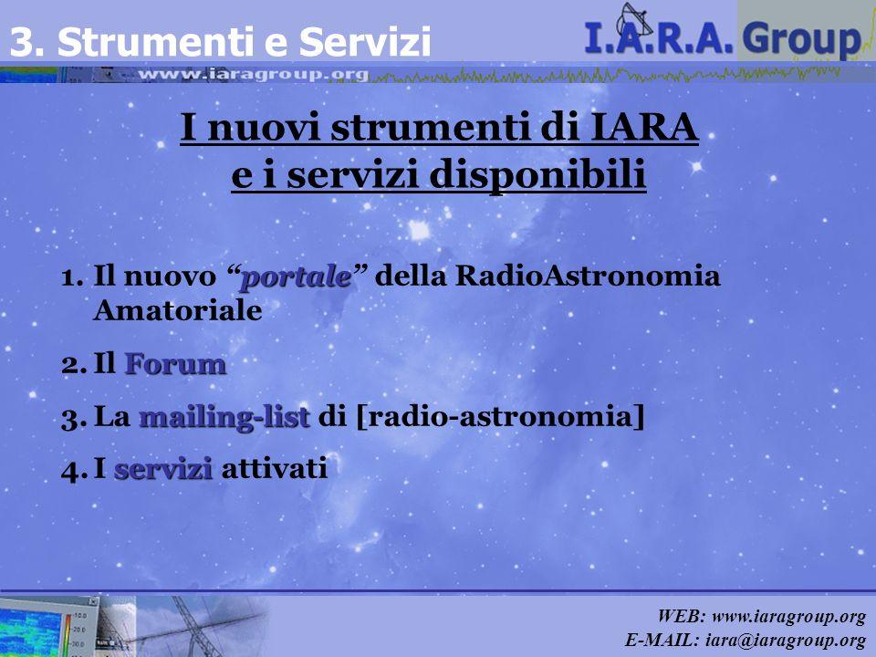 WEB: www.iaragroup.org E-MAIL: iara@iaragroup.org I nuovi strumenti di IARA e i servizi disponibili 3. Strumenti e Servizi portale 1.Il nuovo portale