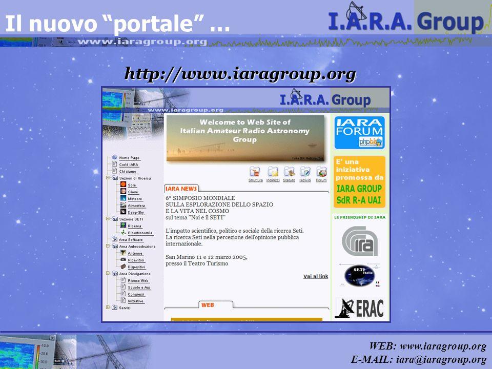 WEB: www.iaragroup.org E-MAIL: iara@iaragroup.org Il nuovo portale … http://www.iaragroup.org