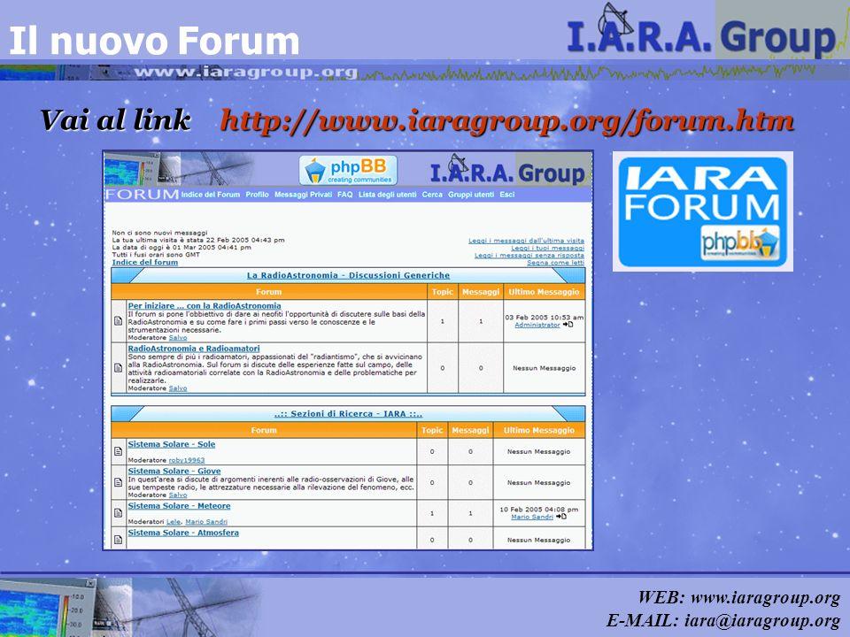 WEB: www.iaragroup.org E-MAIL: iara@iaragroup.org Il nuovo Forum Vai al link http://www.iaragroup.org/forum.htm