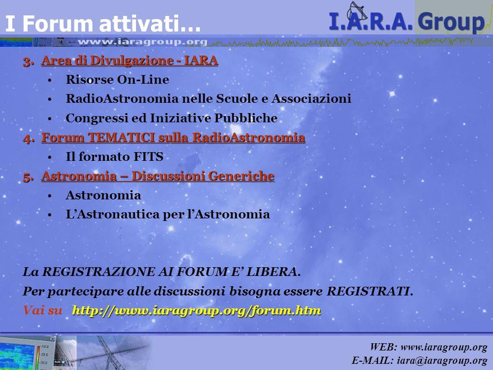 WEB: www.iaragroup.org E-MAIL: iara@iaragroup.org I Forum attivati… 3.Area di Divulgazione - IARA Risorse On-Line RadioAstronomia nelle Scuole e Assoc