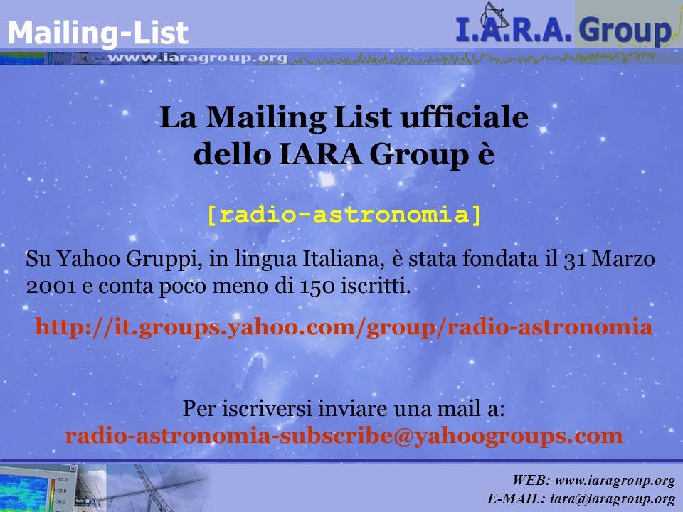WEB: www.iaragroup.org E-MAIL: iara@iaragroup.org Mailing-List La Mailing List ufficiale dello IARA Group è [radio-astronomia] Su Yahoo Gruppi, in lin