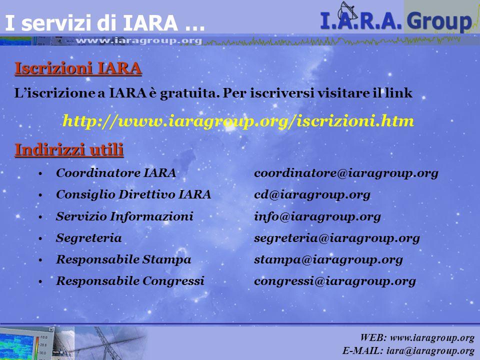 WEB: www.iaragroup.org E-MAIL: iara@iaragroup.org I servizi di IARA … Iscrizioni IARA Liscrizione a IARA è gratuita. Per iscriversi visitare il link h