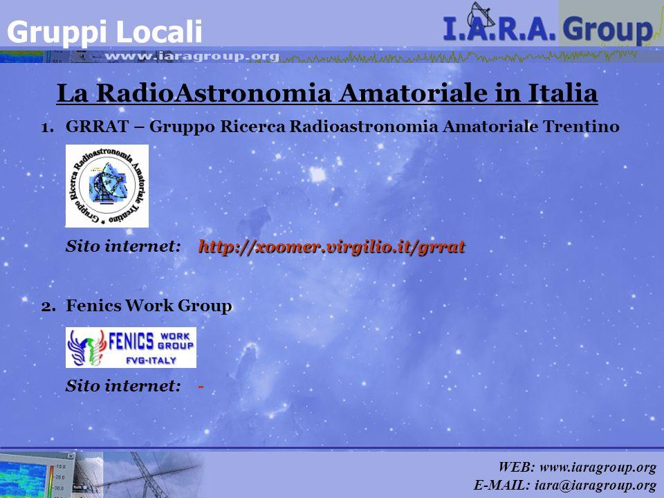 WEB: www.iaragroup.org E-MAIL: iara@iaragroup.org http://xoomer.virgilio.it/grrat 1.GRRAT – Gruppo Ricerca Radioastronomia Amatoriale Trentino Sito in