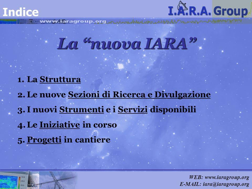 WEB: www.iaragroup.org E-MAIL: iara@iaragroup.org La nuova IARA Indice 1.La Struttura 2.Le nuove Sezioni di Ricerca e Divulgazione 3.I nuovi Strumenti
