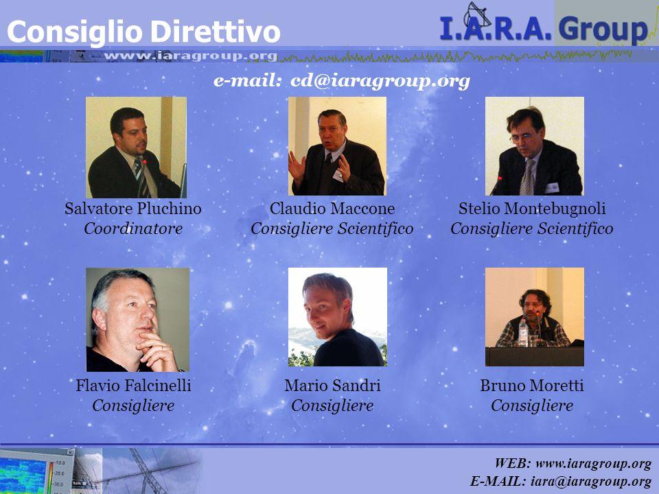 WEB: www.iaragroup.org E-MAIL: iara@iaragroup.org e-mail: cd@iaragroup.org Consiglio Direttivo Salvatore Pluchino Coordinatore Claudio Maccone Consigl