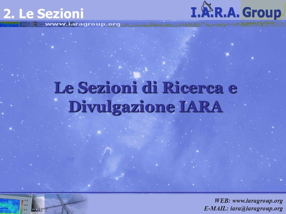 WEB: www.iaragroup.org E-MAIL: iara@iaragroup.org Le Sezioni di Ricerca e Divulgazione IARA 2. Le Sezioni