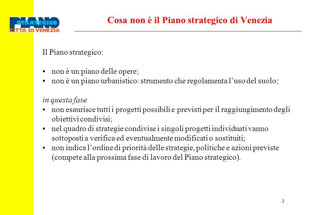 3 Cosa non è il Piano strategico di Venezia Il Piano strategico: non è un piano delle opere; non è un piano urbanistico: strumento che regolamenta lus