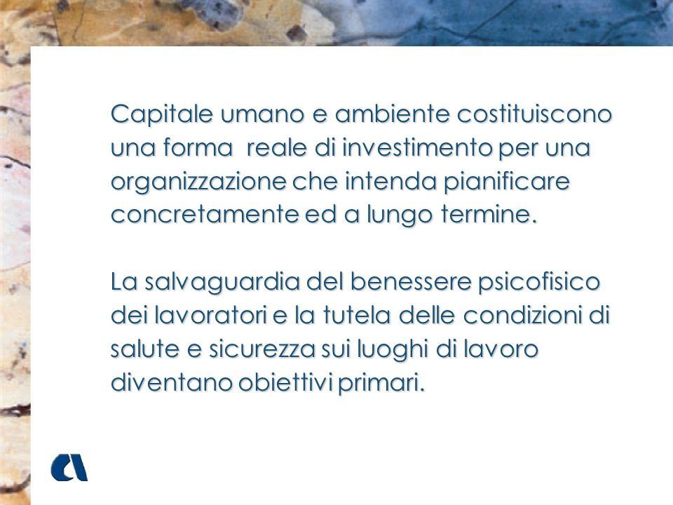 Capitale umano e ambiente costituiscono una forma reale di investimento per una organizzazione che intenda pianificare concretamente ed a lungo termin