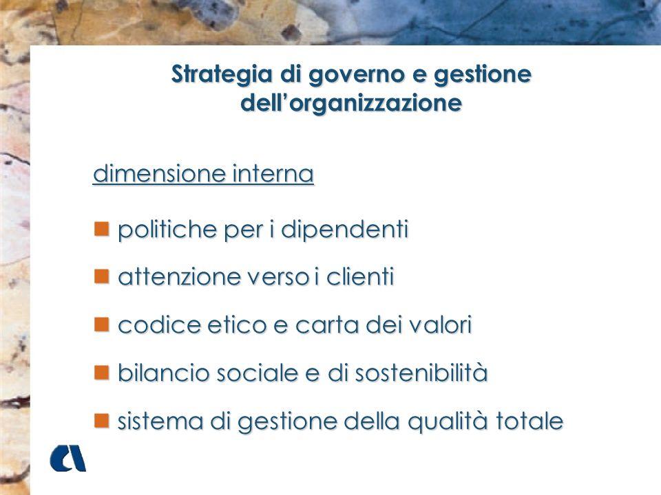 Strategia di governo e gestione dellorganizzazione dimensione interna politiche per i dipendenti politiche per i dipendenti attenzione verso i clienti