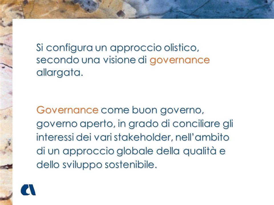 Si configura un approccio olistico, secondo una visione di governance allargata. Governance come buon governo, governo aperto, in grado di conciliare