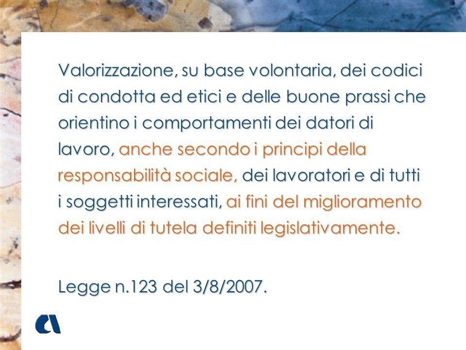 Valorizzazione, su base volontaria, dei codici di condotta ed etici e delle buone prassi che orientino i comportamenti dei datori di lavoro, anche sec