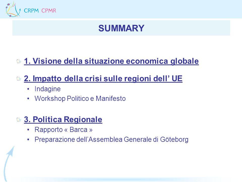 SUMMARY 1. Visione della situazione economica globale 2. Impatto della crisi sulle regioni dell UE Indagine Workshop Politico e Manifesto 3. Politica