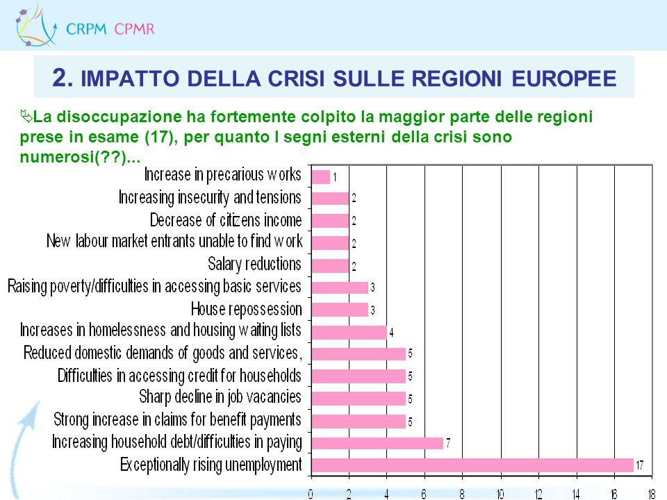 2. IMPATTO DELLA CRISI SULLE REGIONI EUROPEE La disoccupazione ha fortemente colpito la maggior parte delle regioni prese in esame (17), per quanto I