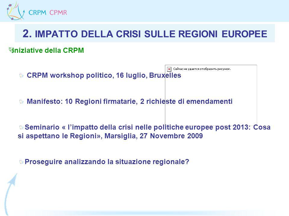2. IMPATTO DELLA CRISI SULLE REGIONI EUROPEE CRPM workshop politico, 16 luglio, Bruxelles Manifesto: 10 Regioni firmatarie, 2 richieste di emendamenti