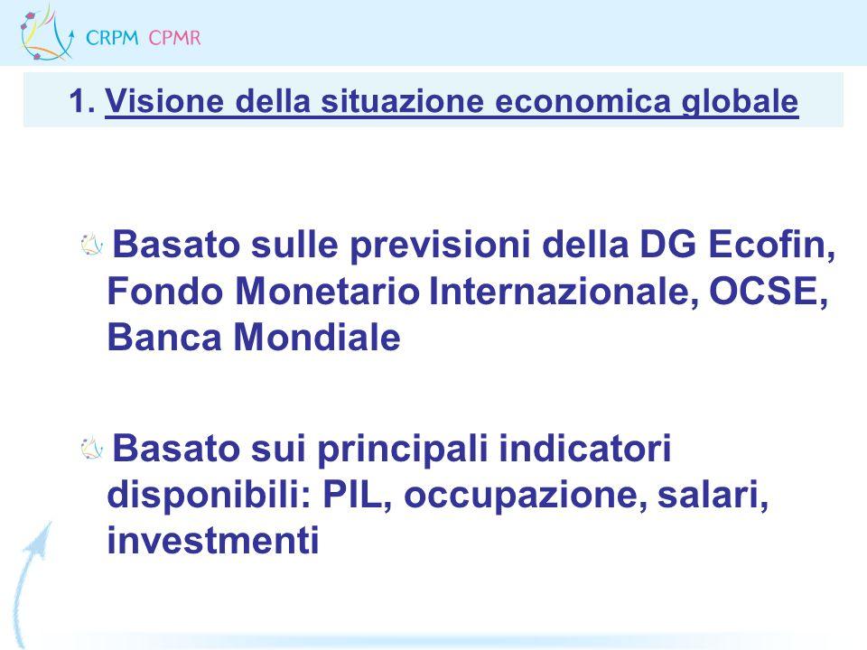 1. Visione della situazione economica globale Basato sulle previsioni della DG Ecofin, Fondo Monetario Internazionale, OCSE, Banca Mondiale Basato sui