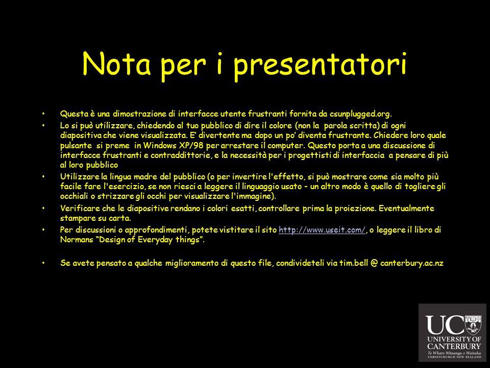Nota per i presentatori Questa è una dimostrazione di interfacce utente frustranti fornita da csunplugged.org. Lo si può utilizzare, chiedendo al tuo