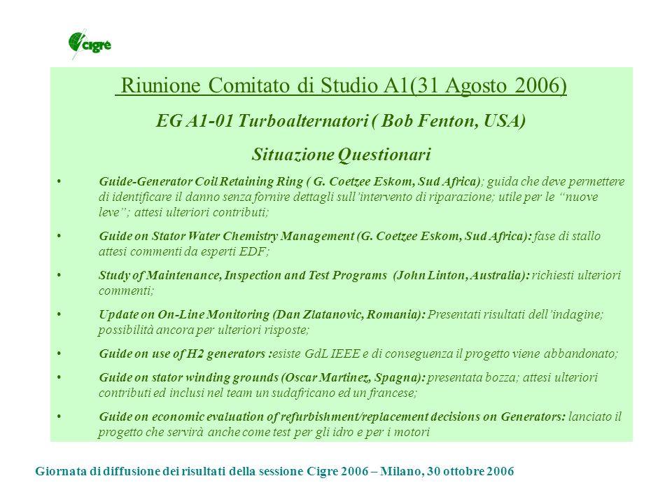 Riunione Comitato di Studio A1(31 Agosto 2006) EG A1-01 Turboalternatori ( Bob Fenton, USA) Situazione Questionari Guide-Generator Coil Retaining Ring ( G.