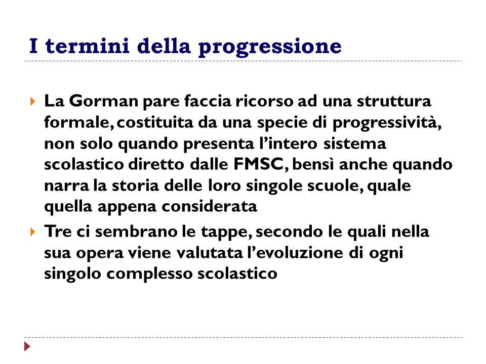 I termini della progressione La Gorman pare faccia ricorso ad una struttura formale, costituita da una specie di progressività, non solo quando presen