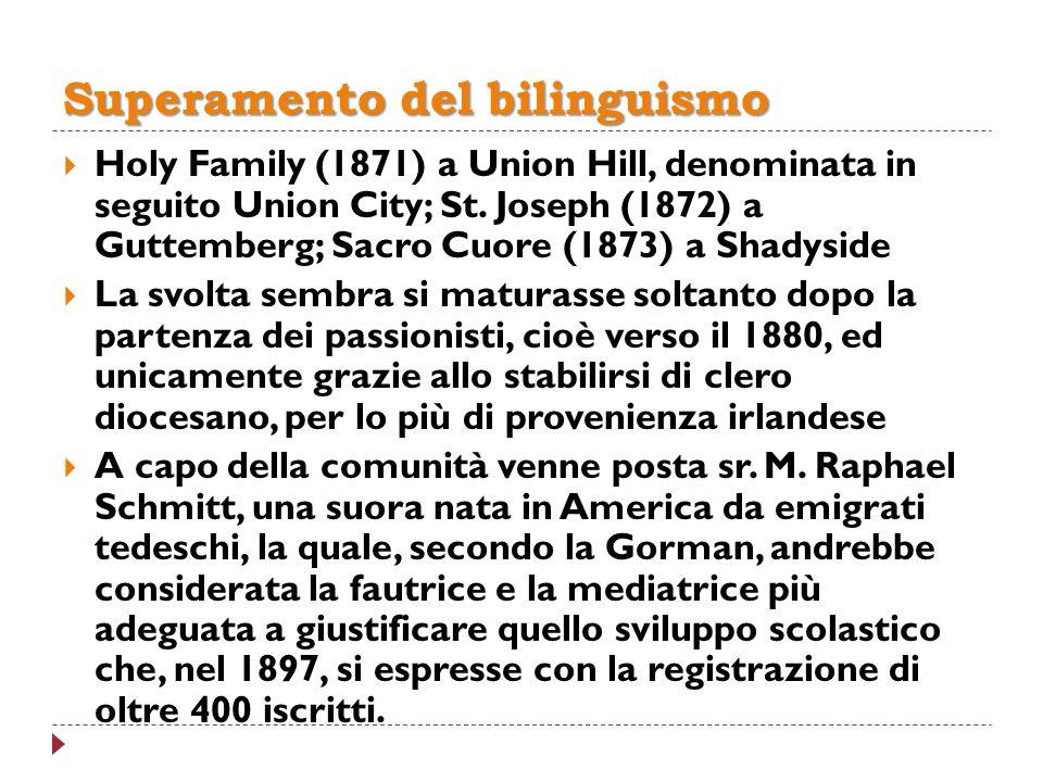 Superamento del bilinguismo Holy Family (1871) a Union Hill, denominata in seguito Union City; St. Joseph (1872) a Guttemberg; Sacro Cuore (1873) a Sh