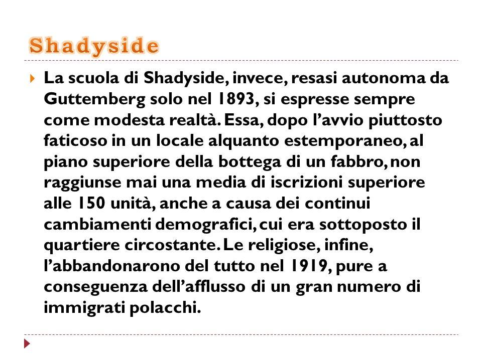 La scuola di Shadyside, invece, resasi autonoma da Guttemberg solo nel 1893, si espresse sempre come modesta realtà. Essa, dopo lavvio piuttosto fatic