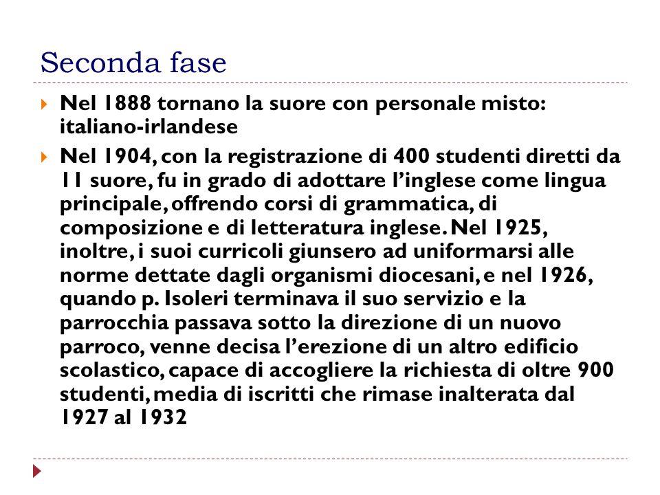 Seconda fase Nel 1888 tornano la suore con personale misto: italiano-irlandese Nel 1904, con la registrazione di 400 studenti diretti da 11 suore, fu
