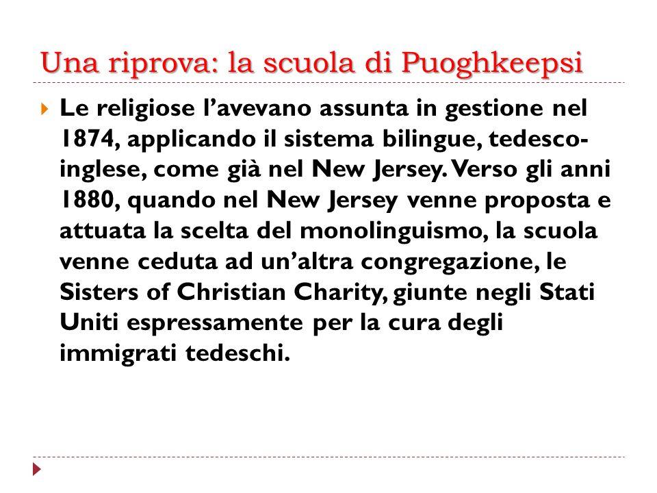 Una riprova: la scuola di Puoghkeepsi Le religiose lavevano assunta in gestione nel 1874, applicando il sistema bilingue, tedesco- inglese, come già n