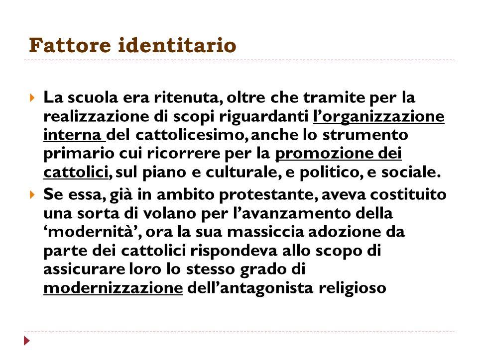 Fattore identitario La scuola era ritenuta, oltre che tramite per la realizzazione di scopi riguardanti lorganizzazione interna del cattolicesimo, anc