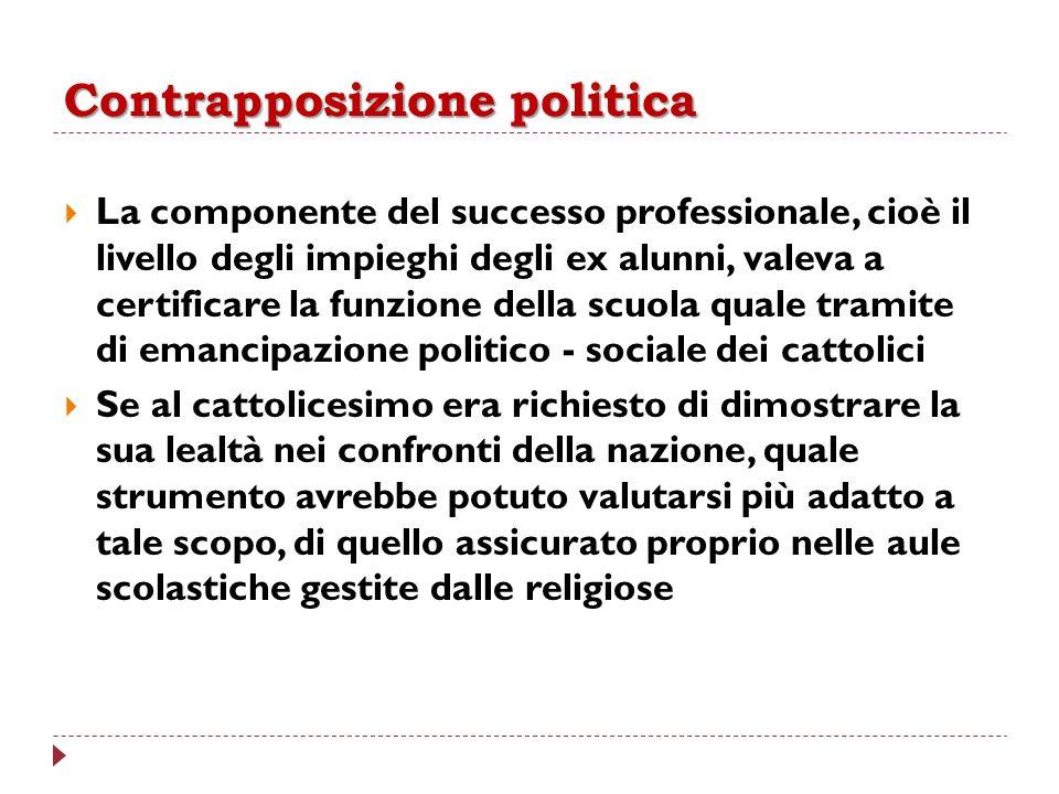 Contrapposizione politica La componente del successo professionale, cioè il livello degli impieghi degli ex alunni, valeva a certificare la funzione d