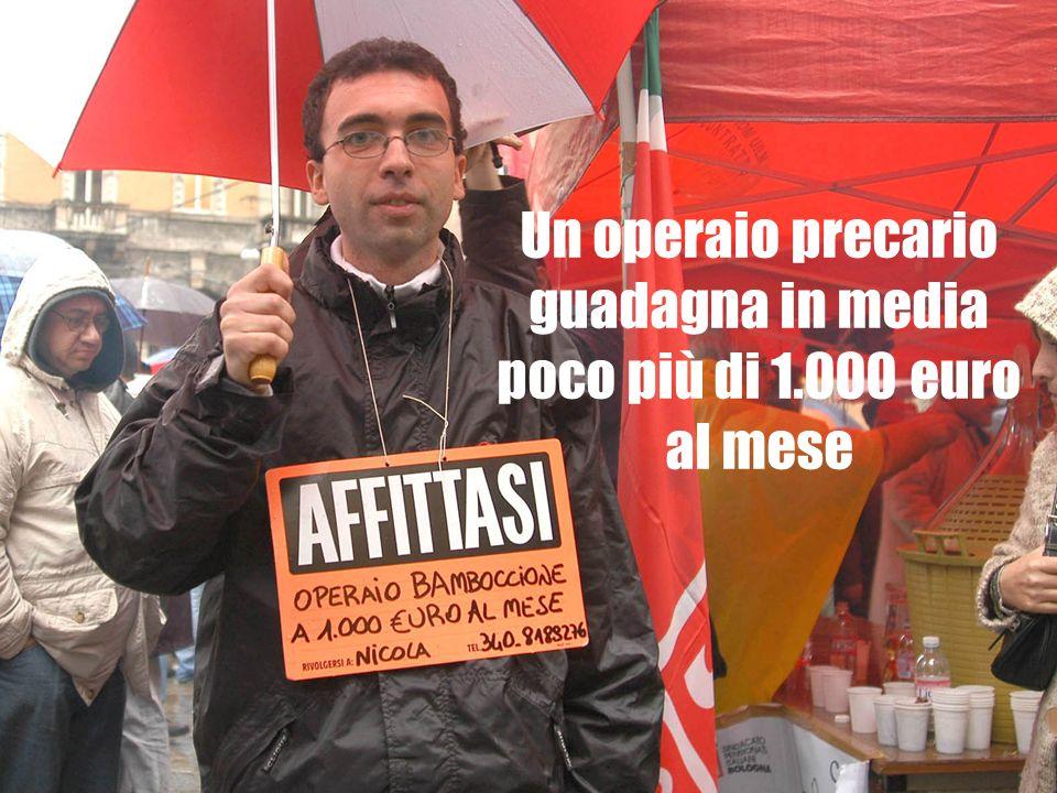Un operaio precario guadagna in media poco più di 1.000 euro al mese