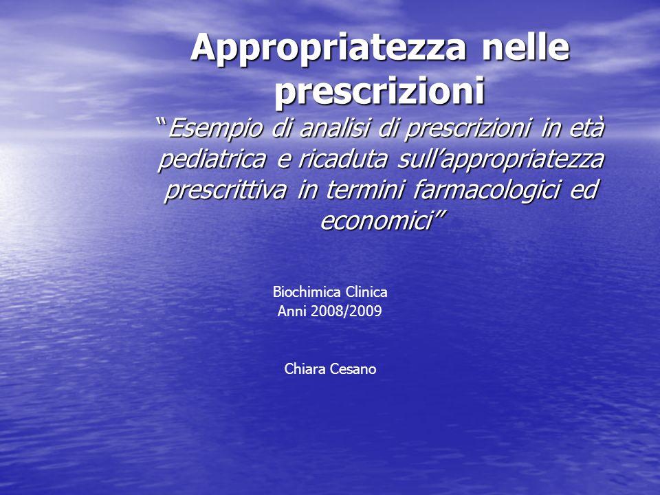 Il campione individuato dallanalisi del database ricette relativo allanno 2004 è costituito da 10.713 bambini, con 28.477 prescrizioni per una spesa complessiva di 617.733,60 euro (1,43% della spesa farmaceutica complessiva).
