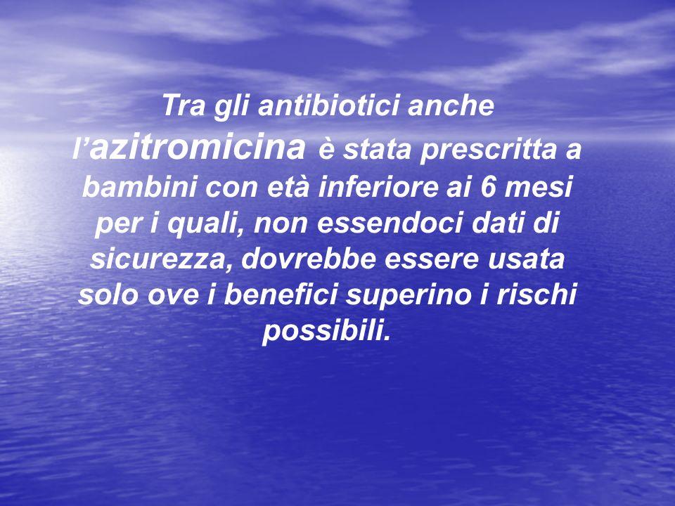 Tra gli antibiotici anche l azitromicina è stata prescritta a bambini con età inferiore ai 6 mesi per i quali, non essendoci dati di sicurezza, dovreb