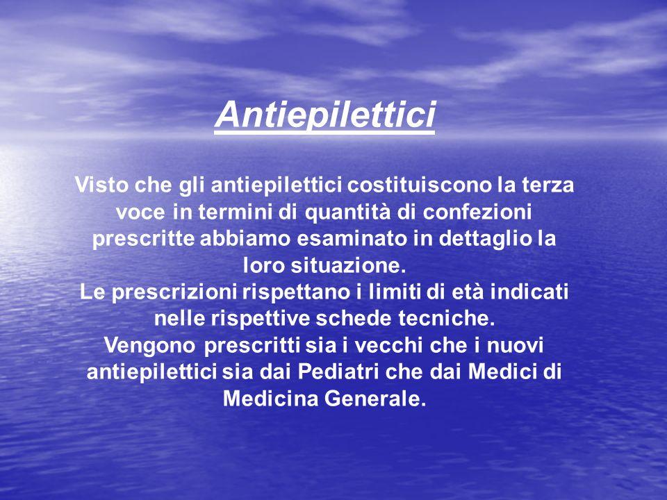 Antiepilettici Visto che gli antiepilettici costituiscono la terza voce in termini di quantità di confezioni prescritte abbiamo esaminato in dettaglio
