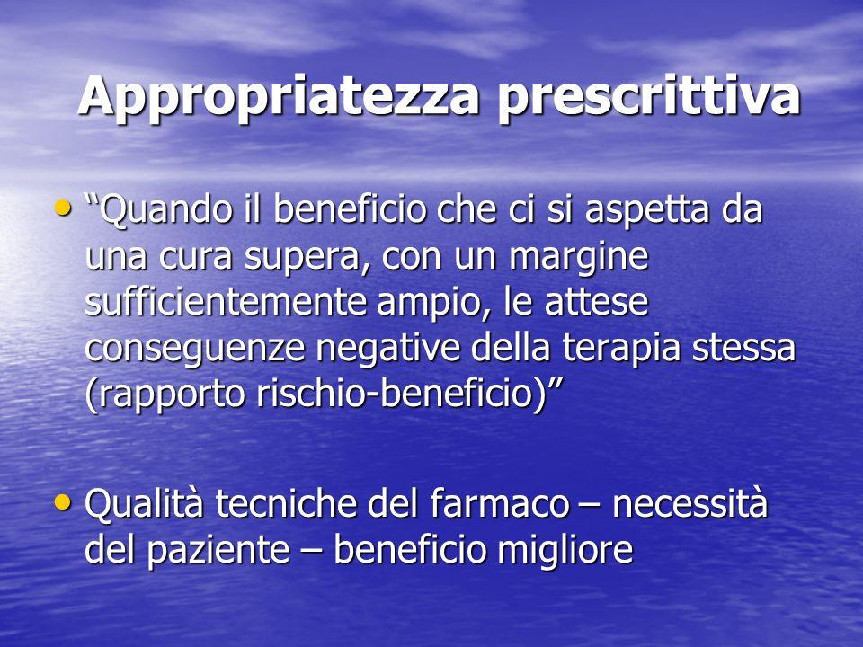 Appropriatezza prescrittiva Appropriatezza prescrittiva Quando il beneficio che ci si aspetta da una cura supera, con un margine sufficientemente ampi