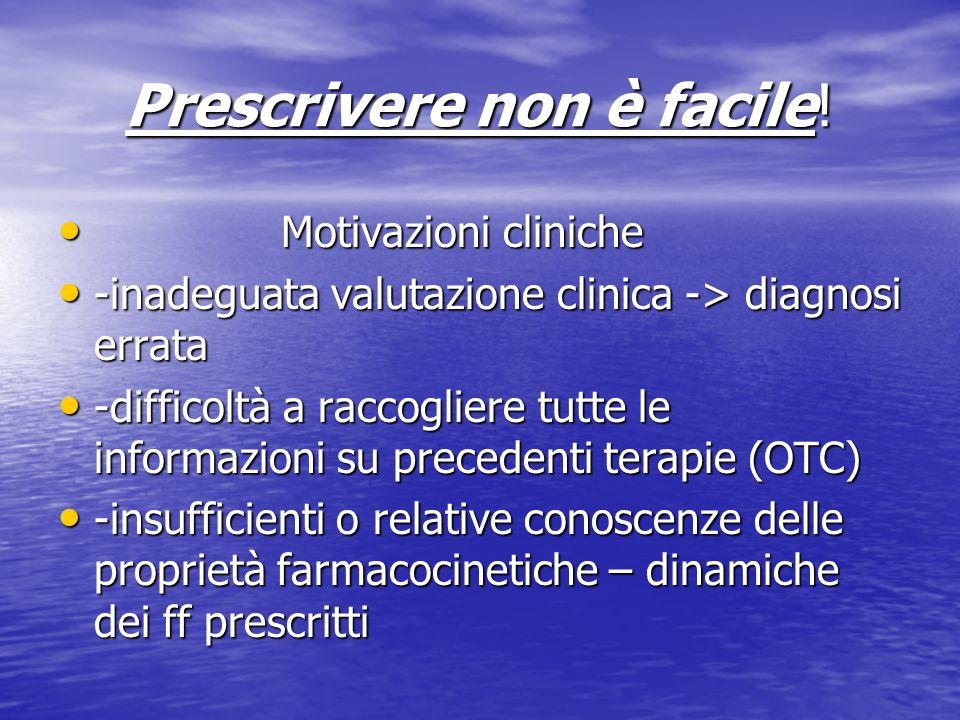 Prescrivere non è facile! Motivazioni cliniche Motivazioni cliniche -inadeguata valutazione clinica -> diagnosi errata -inadeguata valutazione clinica