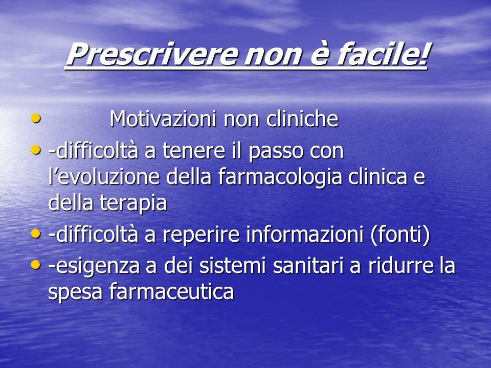 Prescrivere non è facile! Motivazioni non cliniche Motivazioni non cliniche -difficoltà a tenere il passo con levoluzione della farmacologia clinica e