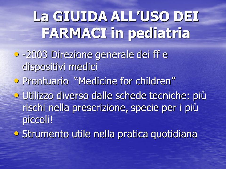 La GIUIDA ALLUSO DEI FARMACI in pediatria -2003 Direzione generale dei ff e dispositivi medici -2003 Direzione generale dei ff e dispositivi medici Pr