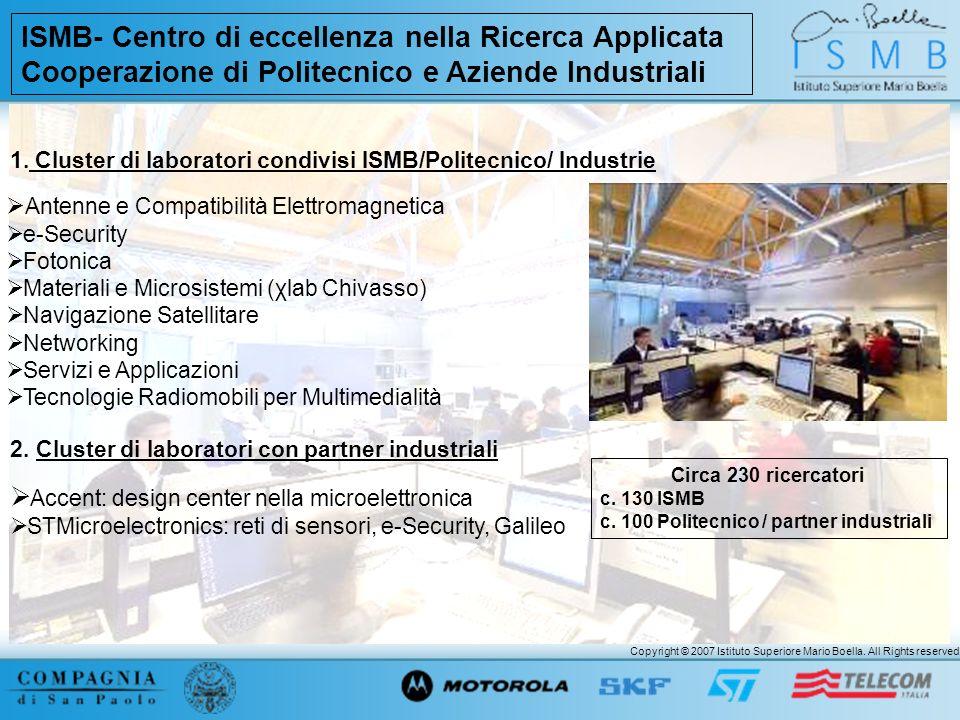 Copyright © 2007 Istituto Superiore Mario Boella. All Rights reserved. ISMB- Centro di eccellenza nella Ricerca Applicata Cooperazione di Politecnico