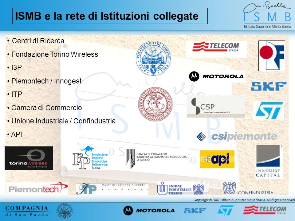 Copyright © 2007 Istituto Superiore Mario Boella. All Rights reserved. ISMB e la rete di Istituzioni collegate Centri di Ricerca Fondazione Torino Wir