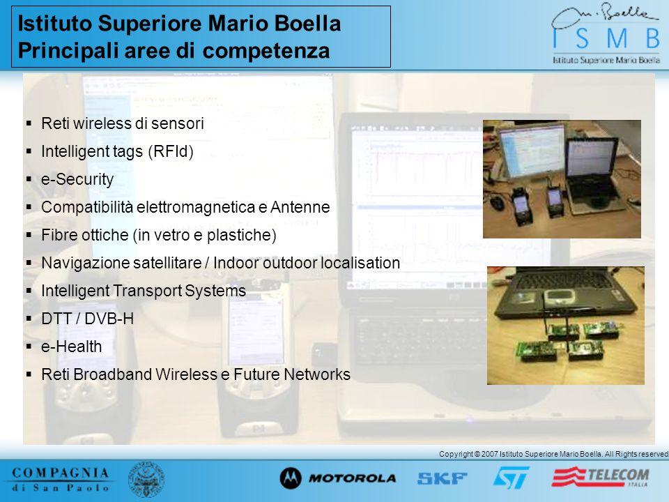 Copyright © 2007 Istituto Superiore Mario Boella. All Rights reserved. Istituto Superiore Mario Boella Principali aree di competenza Reti wireless di