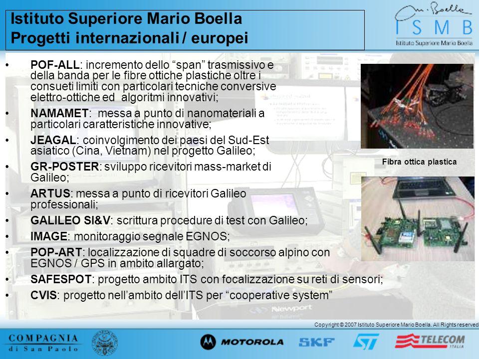 Copyright © 2007 Istituto Superiore Mario Boella. All Rights reserved. POF-ALL: incremento dello span trasmissivo e della banda per le fibre ottiche p