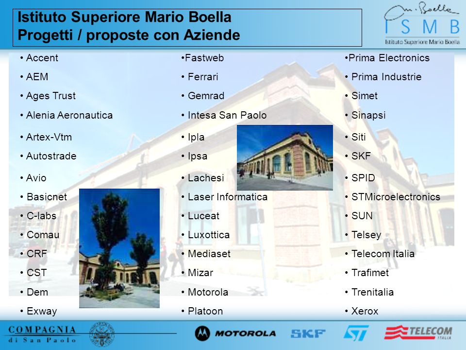 Istituto Superiore Mario Boella Progetti / proposte con Aziende AccentFastwebPrima Electronics AEM Ferrari Prima Industrie Ages Trust Gemrad Simet Ale
