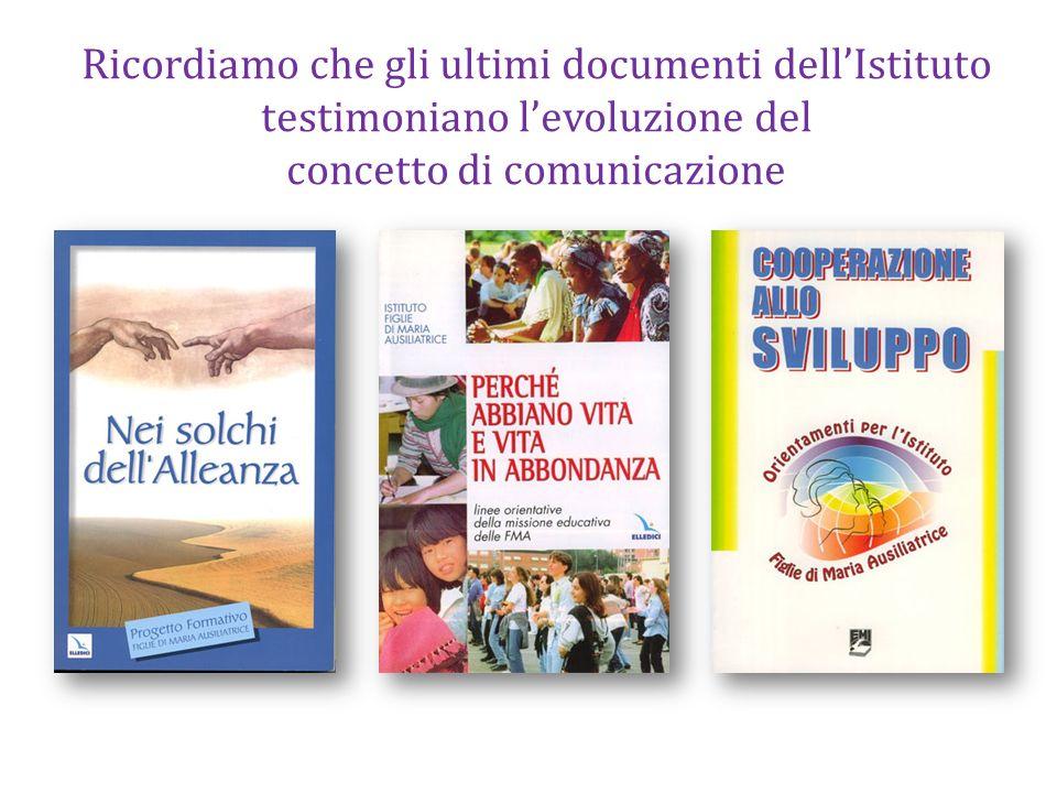 Ricordiamo che gli ultimi documenti dellIstituto testimoniano levoluzione del concetto di comunicazione