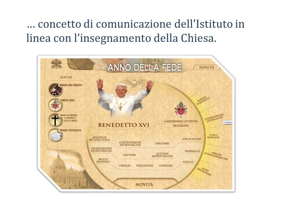 … concetto di comunicazione dellIstituto in linea con linsegnamento della Chiesa.