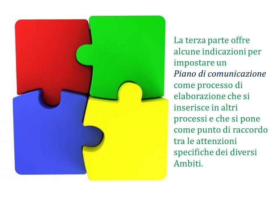 La terza parte offre alcune indicazioni per impostare un Piano di comunicazione come processo di elaborazione che si inserisce in altri processi e che