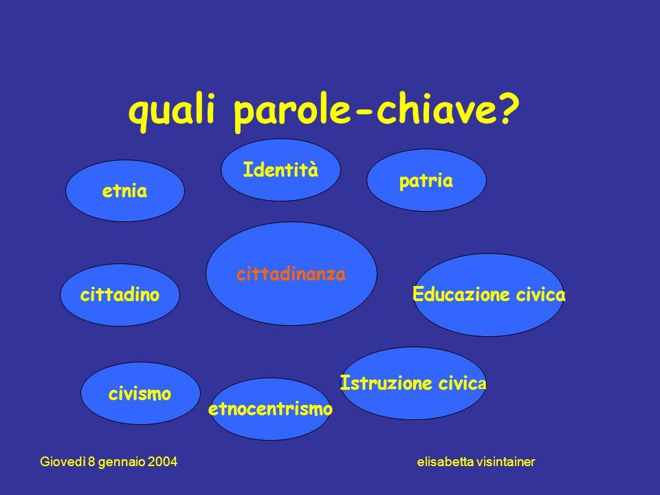 Giovedì 8 gennaio 2004 elisabetta visintainer quali parole-chiave? etnia Istruzione civic a cittadinanza Identità civismo Educazione civica patria cit