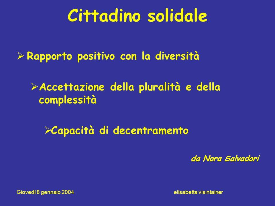 Giovedì 8 gennaio 2004 elisabetta visintainer Cittadino solidale Rapporto positivo con la diversità Accettazione della pluralità e della complessità C